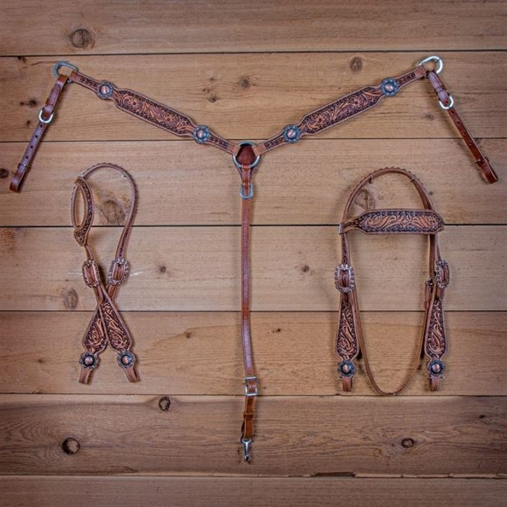 Double S Tooled Copper Collection Breast Collar + One Ear Headstall