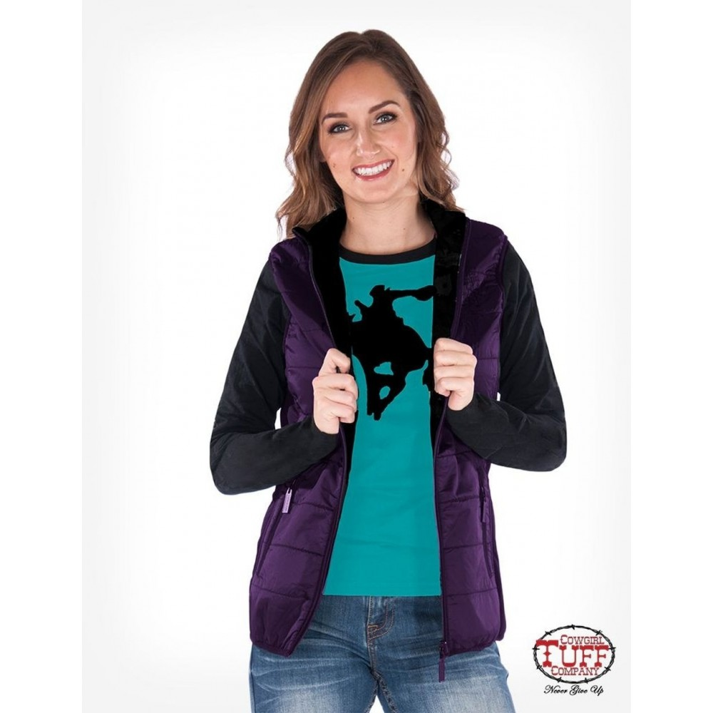 Purple shimmer vest with stretch side panels