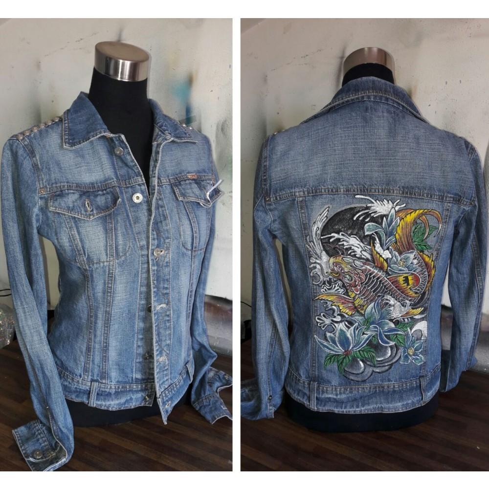 Jeans Jacket Koi M by Skull Design