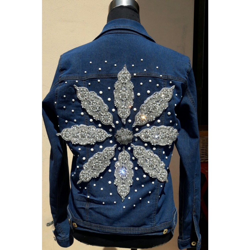 Jeans Jacket Pearls M/L by Skull Design