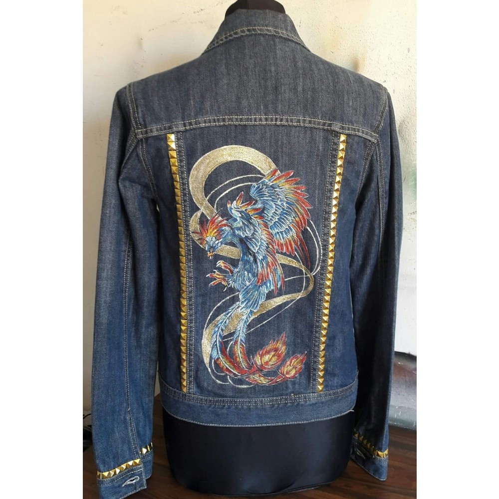 "Jeans Jacket ""Phoenix"" S/M by Skull Design"