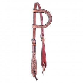 Double S Latigo Lined Teardrop Diamond Cheek One Ear Headstall