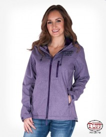 Purple microfiber canvas jacket with branded embroidery
