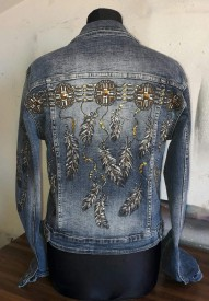"""Jeans Jacket """"Feathers"""" M by Skull Design"""