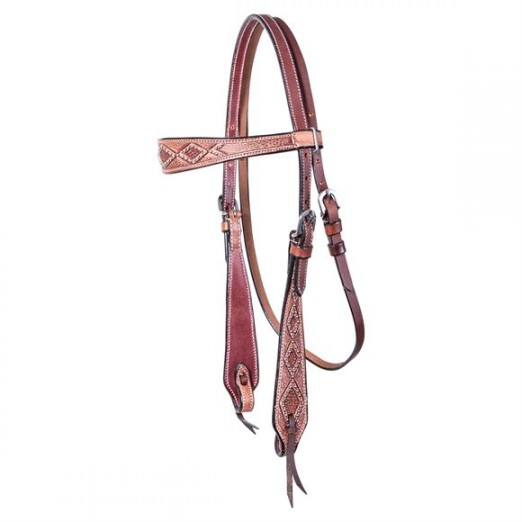 Double S Latigo Lined Diamond Browband Headstall