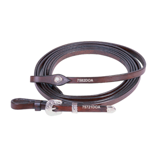 Harness Reins with Silver Buckles chocolate 1/2""
