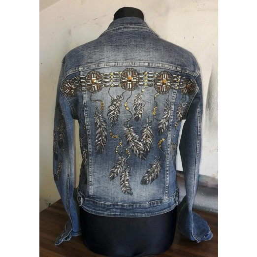 "Jeans Jacket ""Feathers"" M by Skull Design"