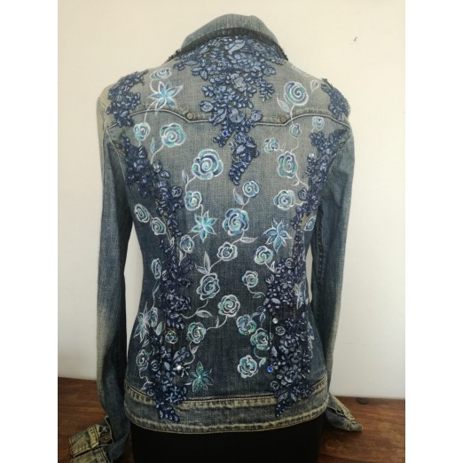 "Jeans Jacket ""Flower"" M/L by Skull Design"