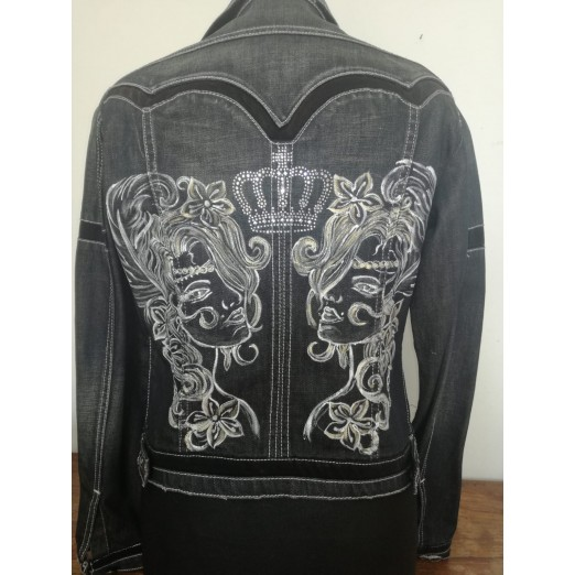 "Jeans Jacket ""Black Strass"" S/M by Skull Design"