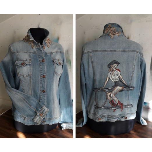 Jeans Jacket Pin-Up L/XL by Skull Design