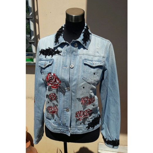 "Jeans Jacket ""Roses"" M by Skull Design"
