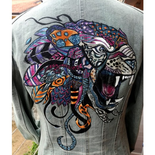 Jeans Jacket Tiger M/L by Skull Design