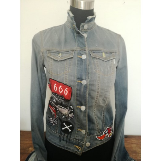 """Jeans Jacket """"Comic"""" XS by Skull Design"""