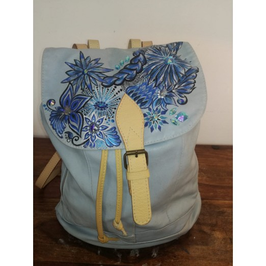 "Leder Rucksack ""Flower"" by Skull Design"